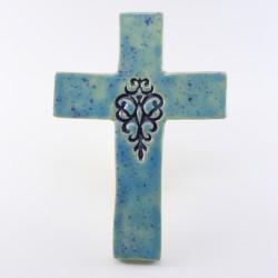 Krzyż ceramiczny dekor